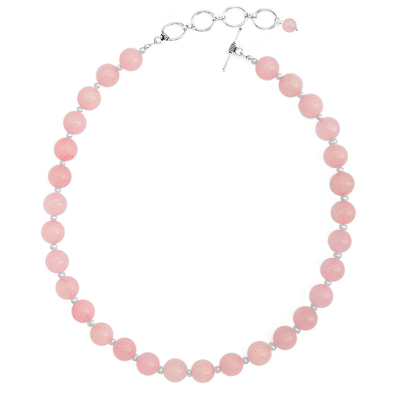 Creamy Rose Quartz and Fresh Water Pearl Sterling Silver Necklace 16