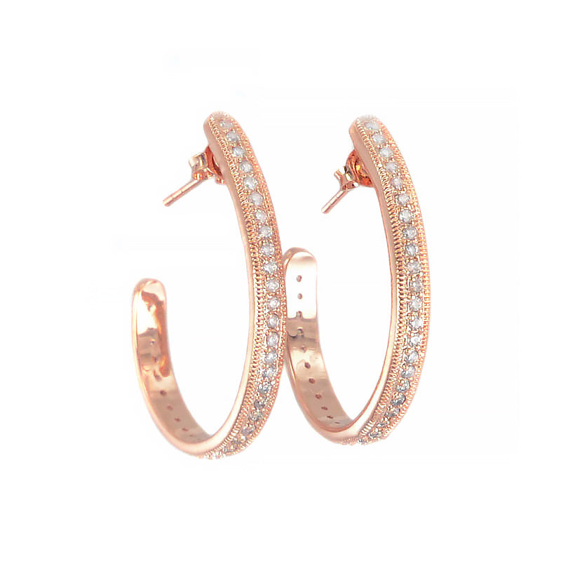 14kt Rose Gold Plated Crystal Oval Half Hoops 1""