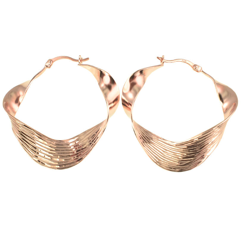 Magnificent Twisted Ribbon Design Rose Gold Vermeil Hoop Earrings