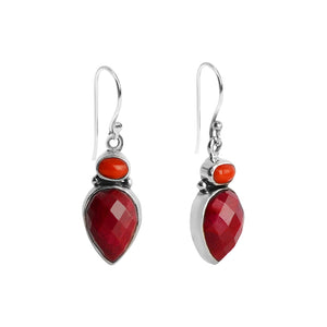 Vibrant Red Cranberry Faceted Corundum anRed Coral Sterling Silver Earrings