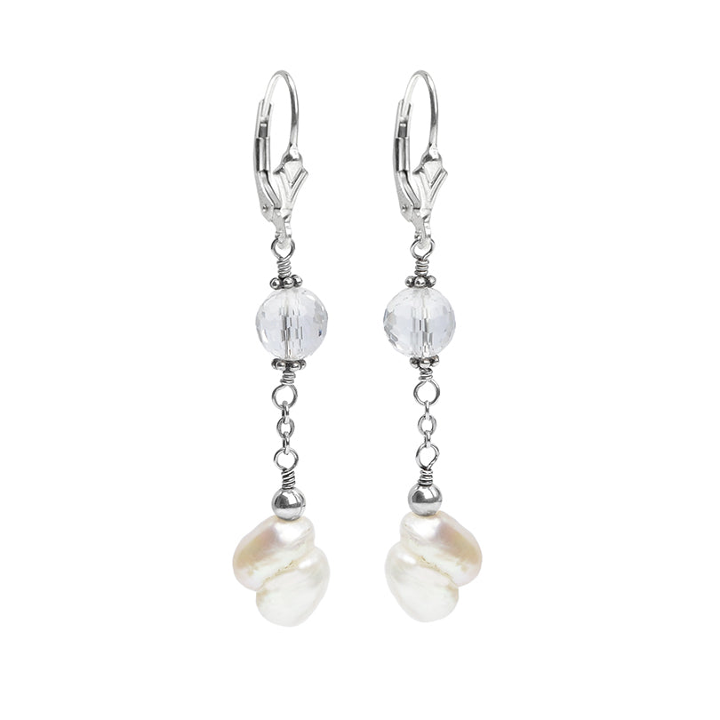 Sassy Fresh Water Pearl and Faceted Quartz Earrings