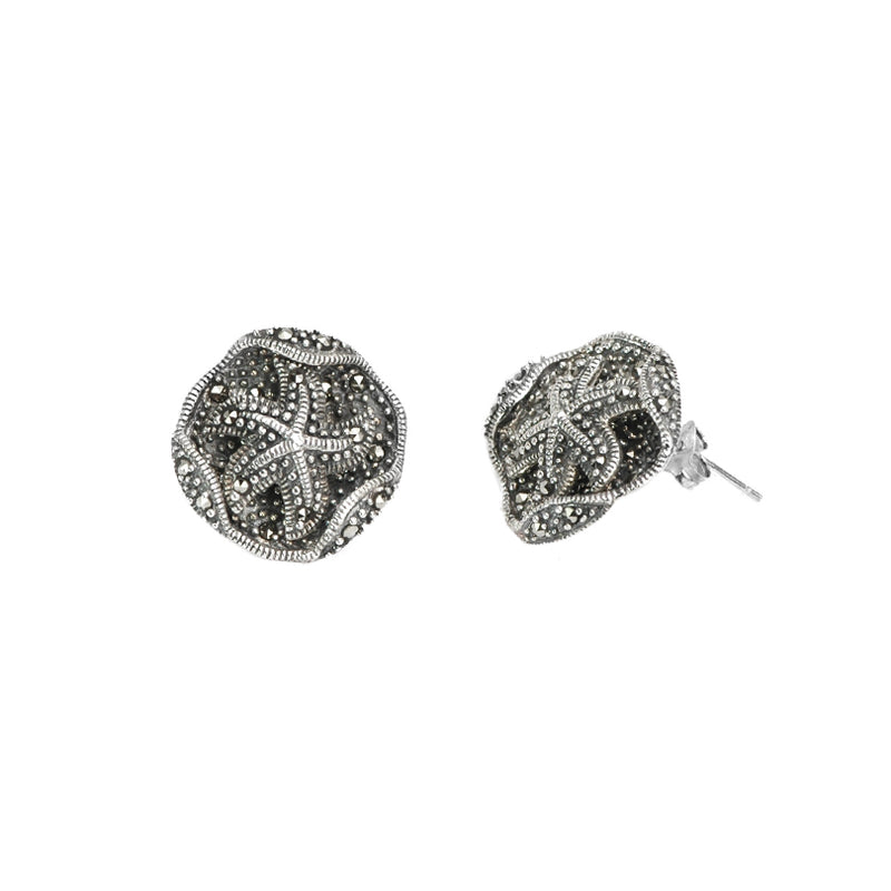 Back to the Sea Sparkling Starfish Marcasite Sterling Silver Earrings