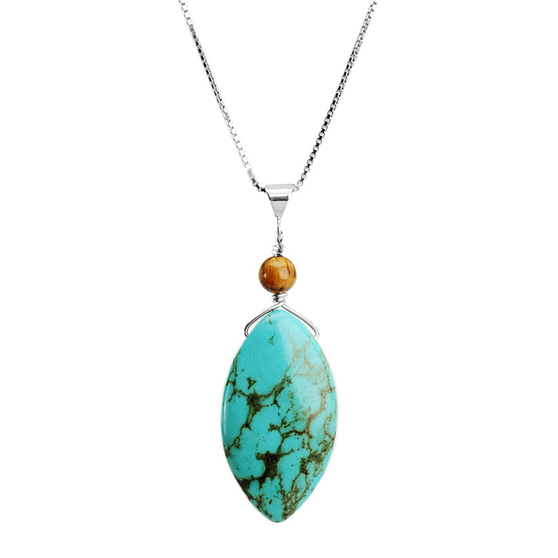 Chalk Turquoise with Tiger's Eye Sterling Silver Necklace