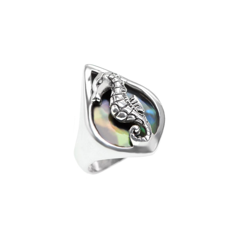 Shimmering Black Shell Seahorse Sterling Silver Ring