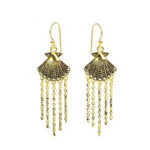 Darling Gold Plated Marcasite Seashell Earrings