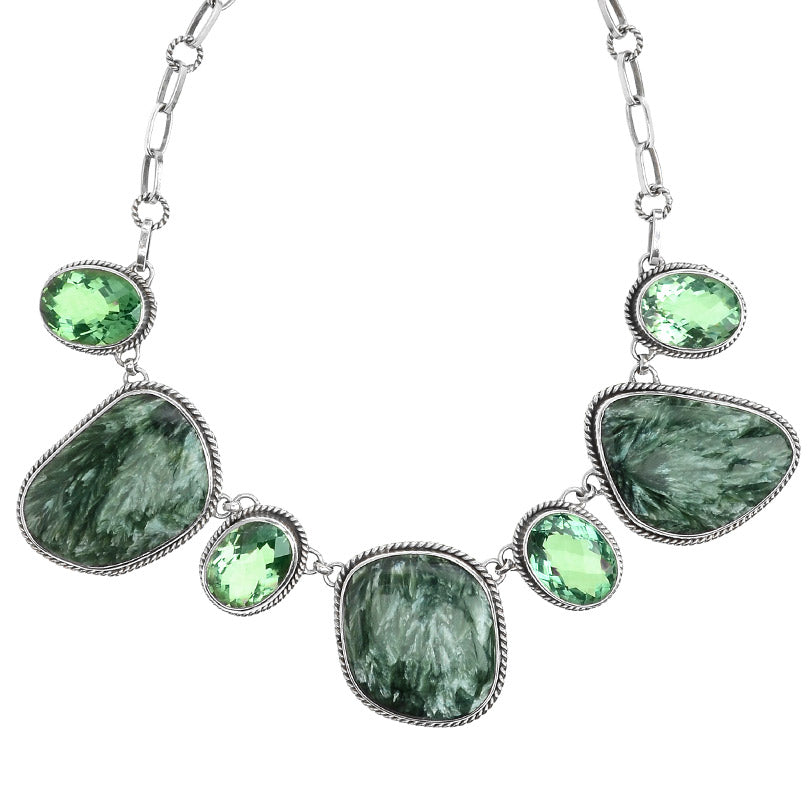 Gorgeous Russian Seraphinite with Brilliant Faceted Green Quartz Stones Sterling Silver Statement Necklace