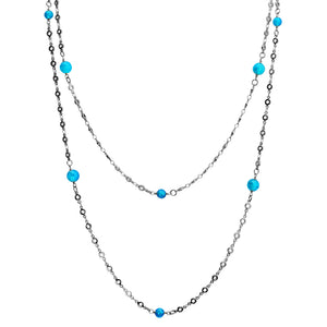 Blue Agate Silver Plated Long Luxurious Necklace 50""