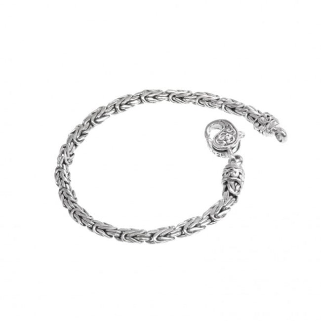 Sterling Silver 5mm Borobadur Bracelet with Filigree Lobster Clasp