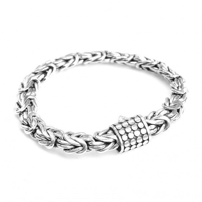 Sterling Silver 10mm Borobadur Bracelet with Dotted Barrel Clasp