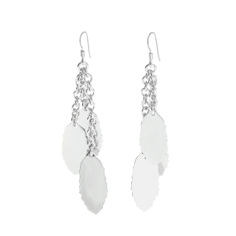 Brilliant Rhodium Plated Leaves Earrings