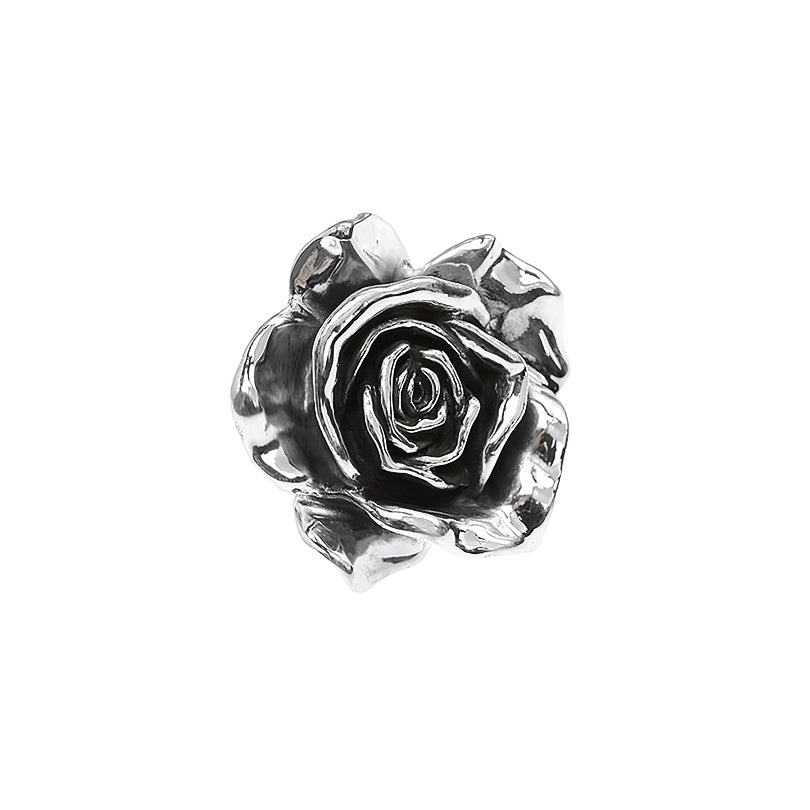 Magnificent Large Shiny Rose Sterling Silver Pendant