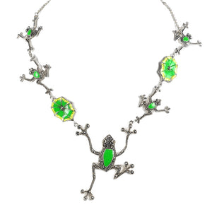 Cute Frolicking Frogs Marcasite Enamel Sterling Silver Statement Necklace