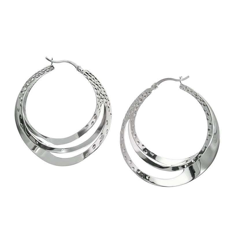 Sleek Hammered Layered Hoop Earrings