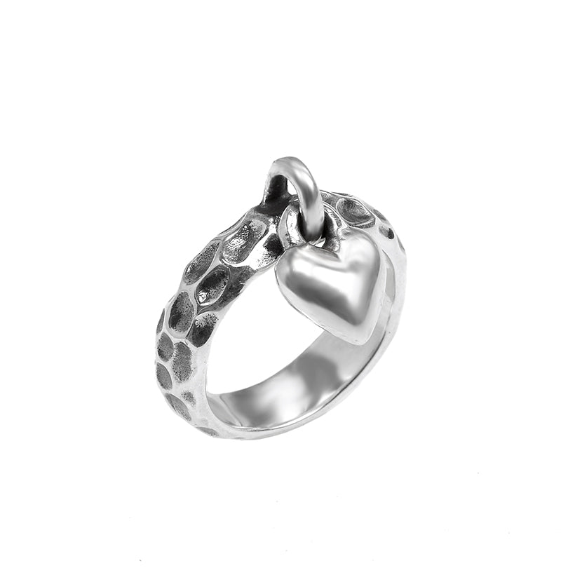Unique Design Dangling Heart Sterling Silver ring