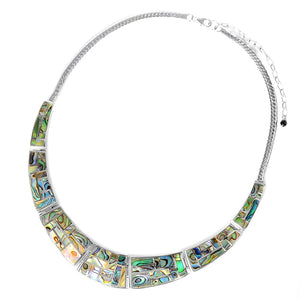 Beautiful Lustrous Labyrinth Abalone Sterling Silver Statement Necklace