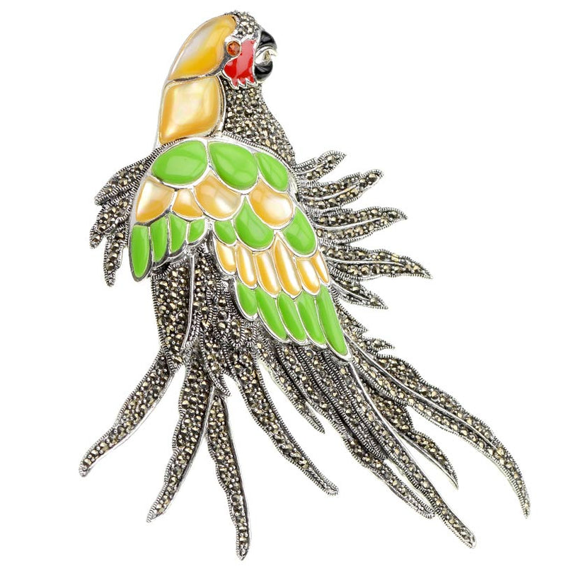 Truly Amazing Large Parrot Brooch with Marcasite& Silver or Gold Plating.