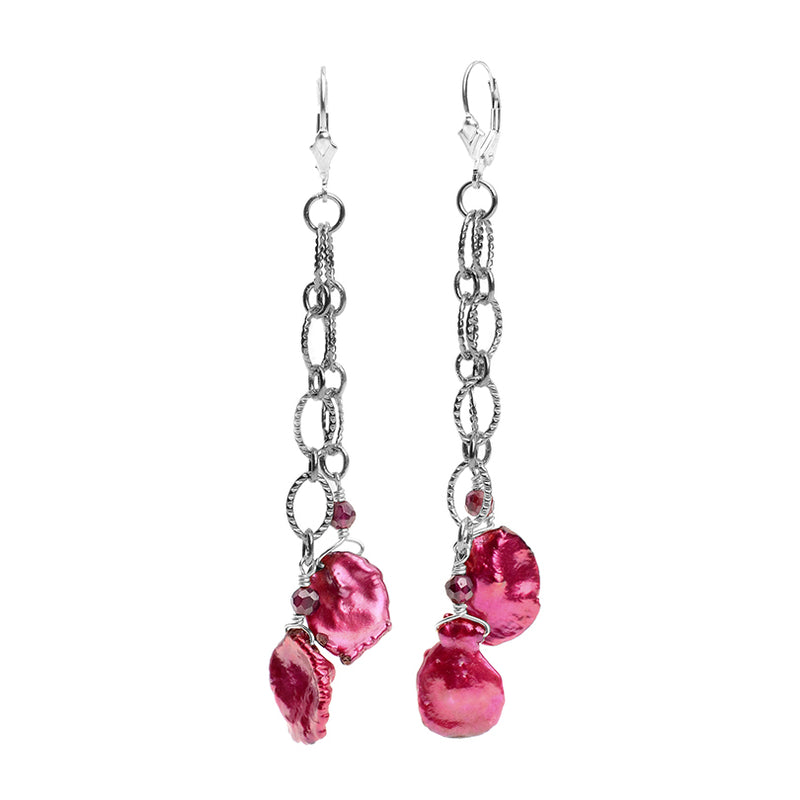 Rich Burgundy Rose Pearl Earrings with Sterling Silver Lever Back Hooks