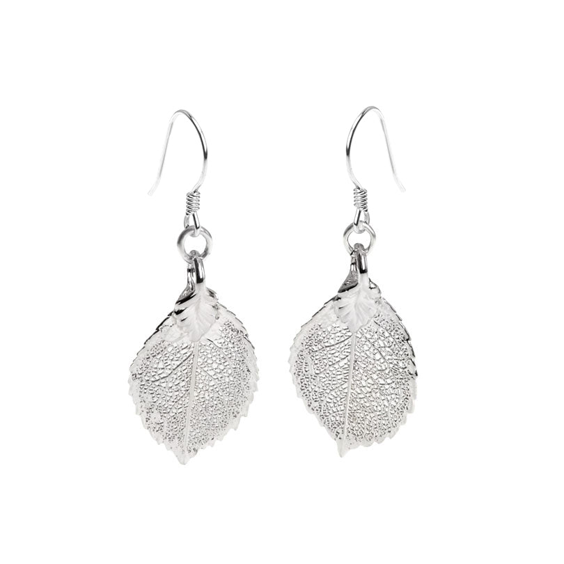 Real Leaf Silver Saturated Earrings