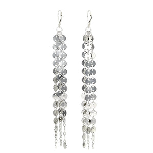 Shimmering Waterfall Silver Plated Brass Earrings