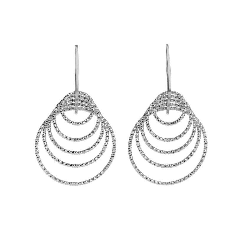 Sparkling Diamond Cut Layered Italian Sterling Silver Earrings
