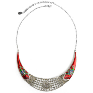 Vibrant Peacock Marcasite Silver Plated Necklace