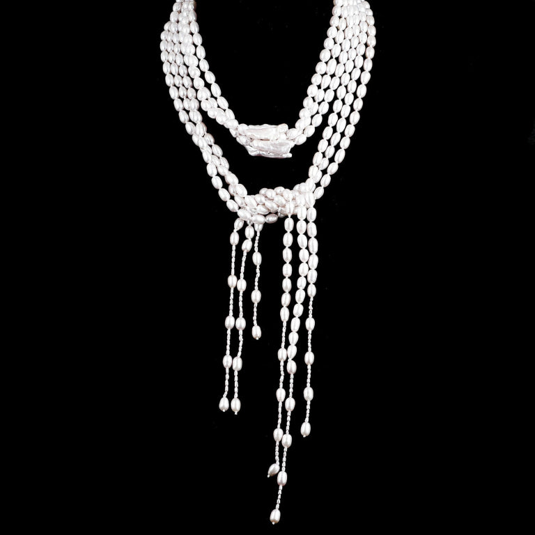 Beautiful White Fresh Water Pearl 3-Strand Lariat Necklace