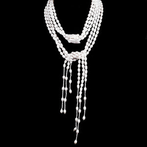 Lovely White Fresh Water Pearl 3 Strand Lariat Necklace