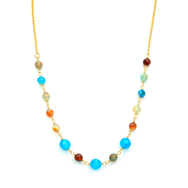 Rainbow Blue and Mixed Colors of Agate on Gold Plated Necklace