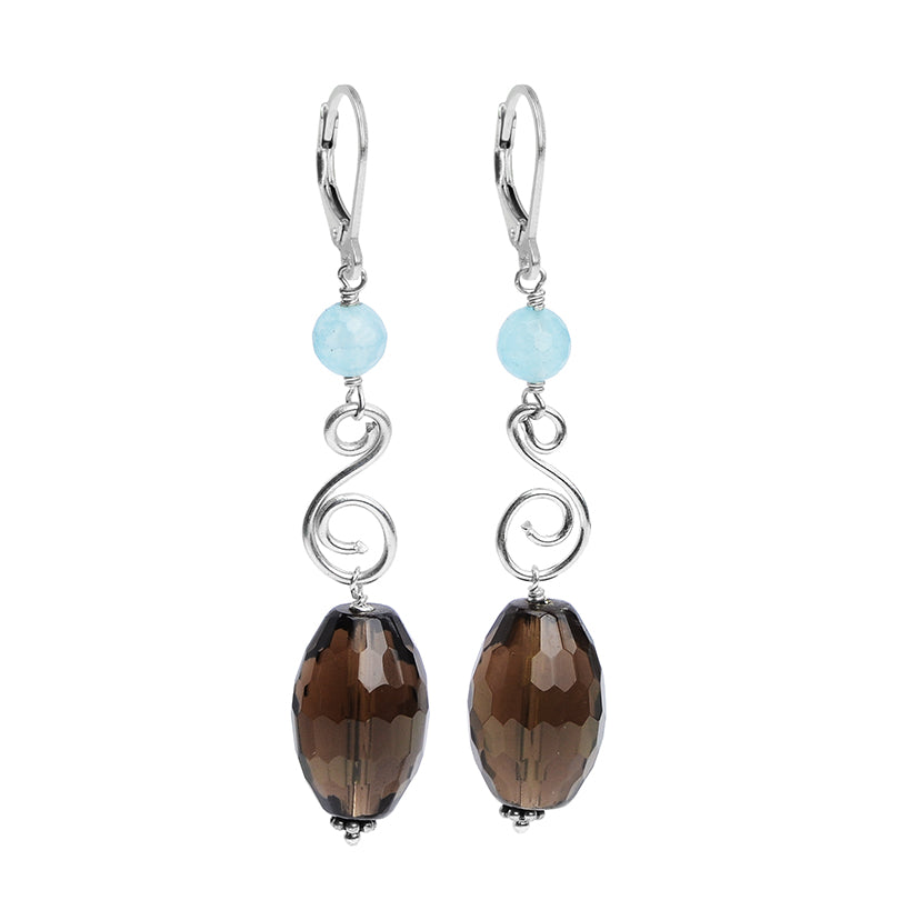 Stunning Faceted Smoky Quartz Chalcedony Earrings with Lever-Back Hooks