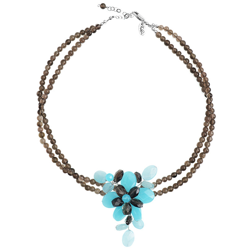 Beautiful Sky Blue Jade with Smokey Quartz Accent Flower Necklace