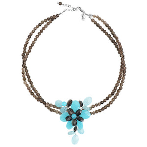 Beautiful Sky Blue Jade with Smokey Quartz Flower Necklace