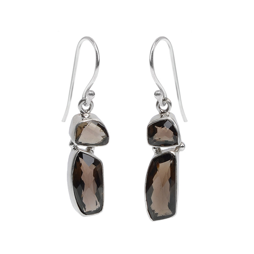 Unique Petite Faceted Smoky Quartz Sterling Silver Earrings
