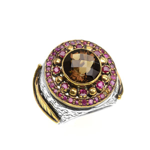 Gorgeous Large Smoky Quartz Stone Surrounded by Rubies Sterling Silver Statement Ring size 8