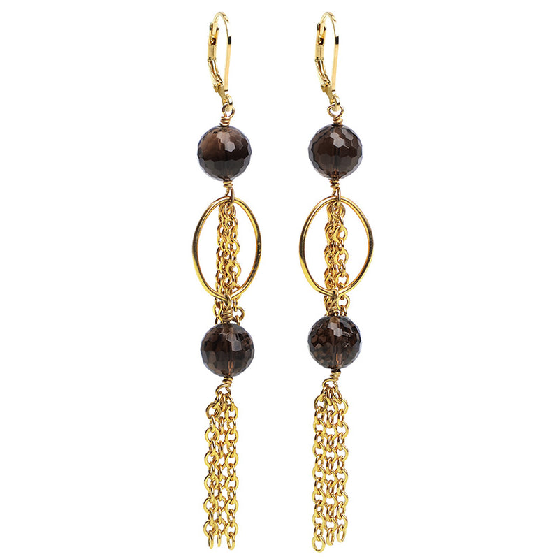 Gold Fill Smoky Quartz Fringe Earrings