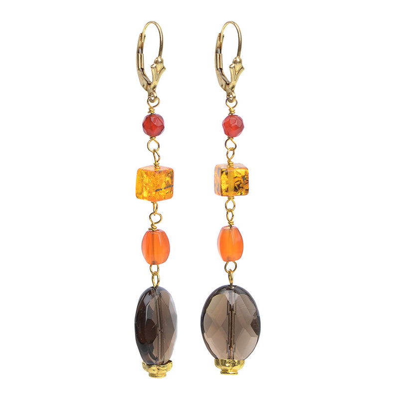Beautiful Carnelian, Amber and Smoky Quartz Earrings on Gold Filled Lever-Back Hooks