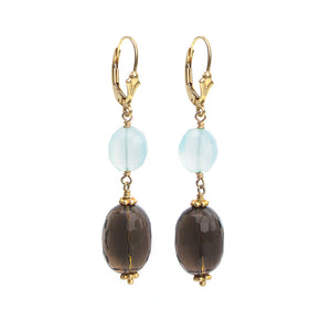 Gold Fill Smoky Quartz Wave Cut Stones and Chalcedony Earrings