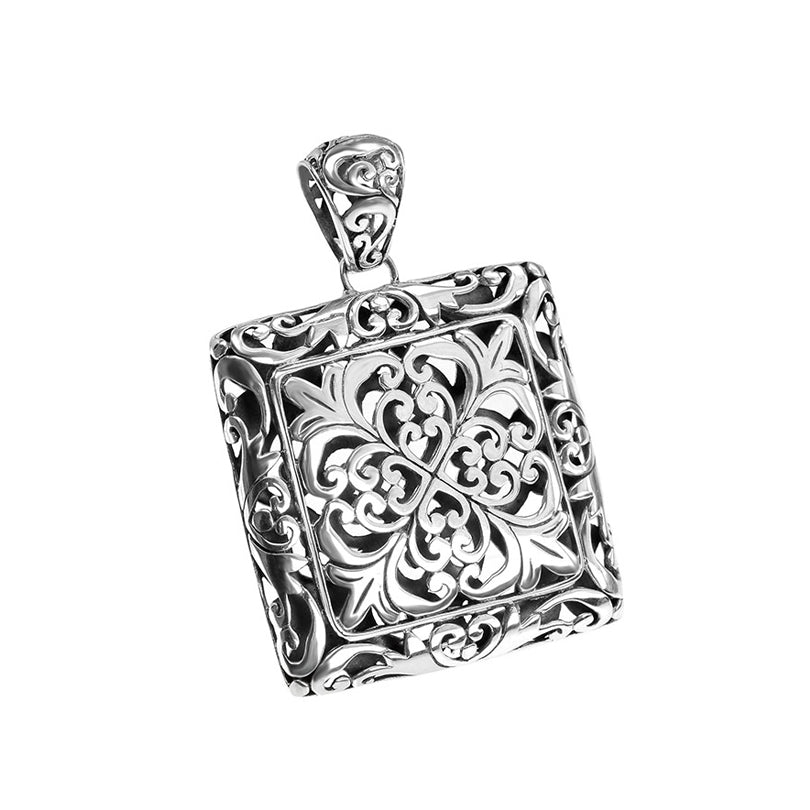 Gorgeous Large Bali Filigree Square Sterling Silver Filigree Pendant