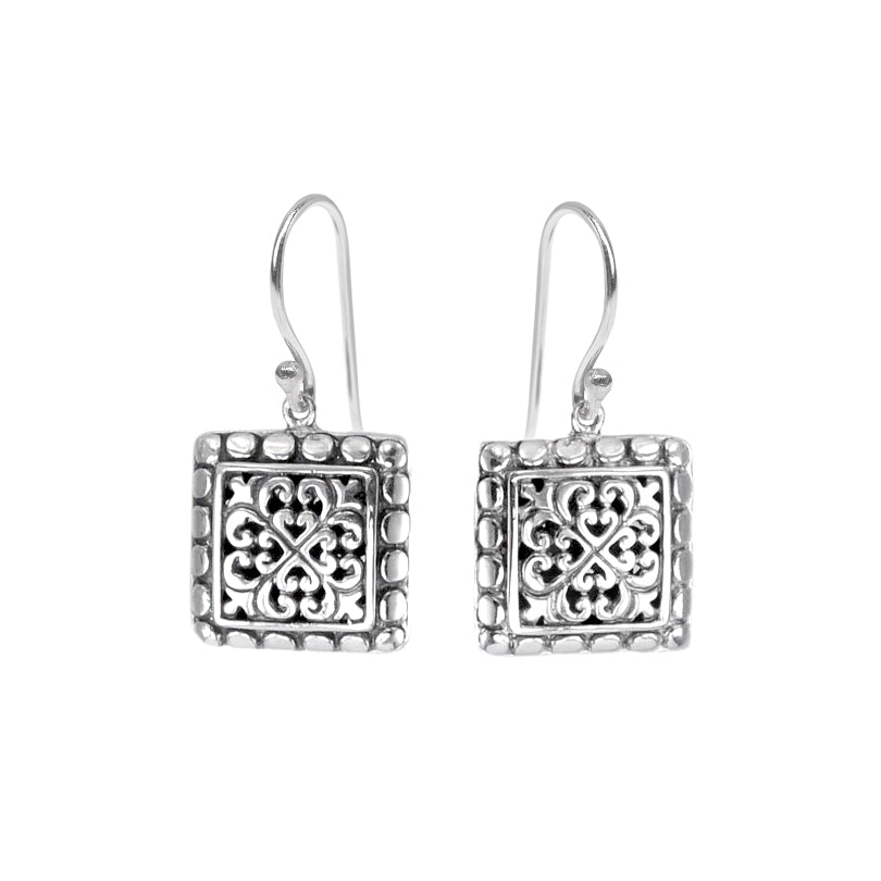 Small Balinese Square Filigree Sterling Silver Earrings
