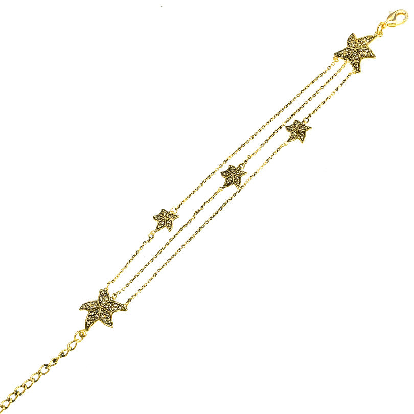 Gold Plated Marcasite Starfish Bracelet