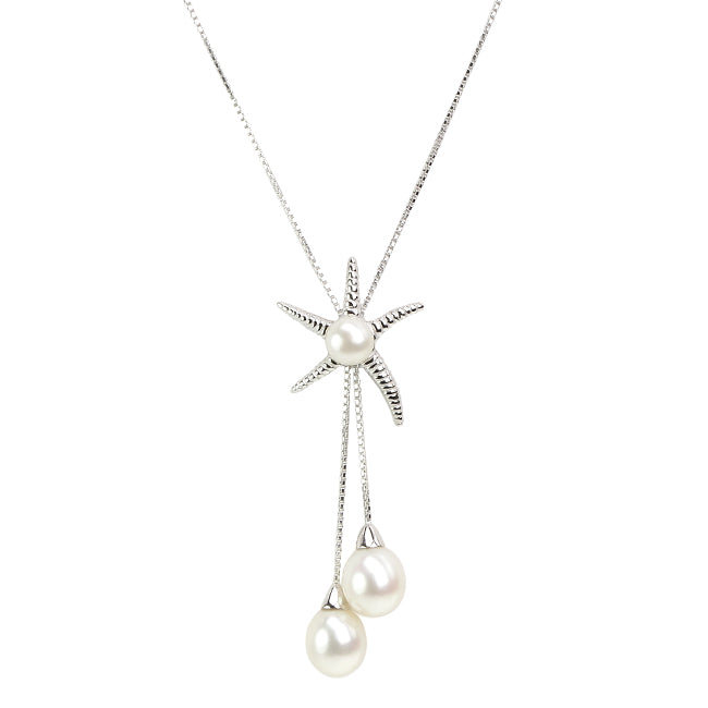 Lustrous Starfish Fresh Water Pearl Sterling Silver Statement Necklace
