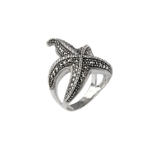 Starfish Marcasite Sterling Silver Ring