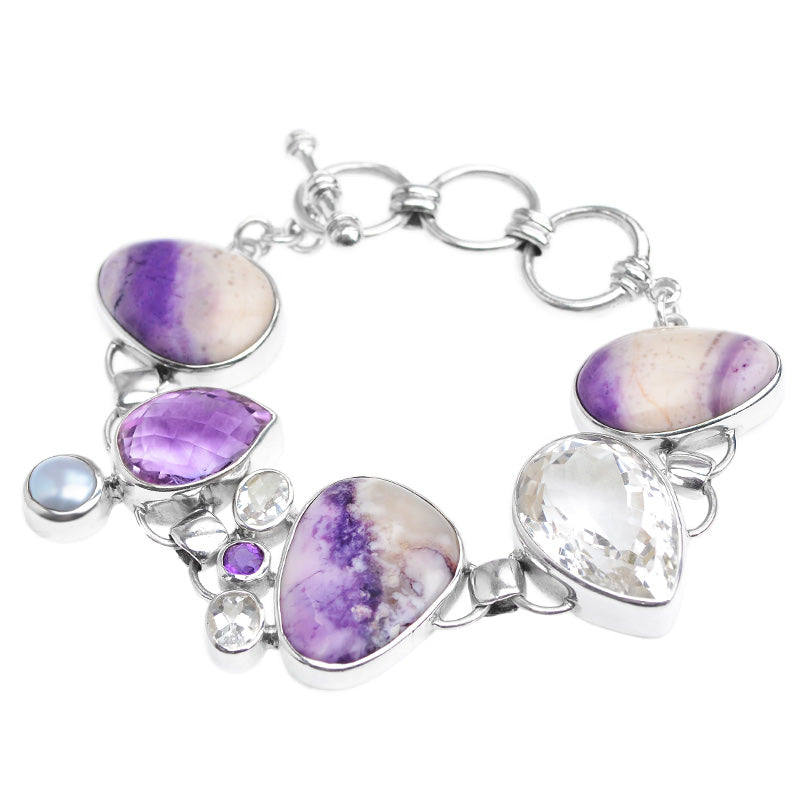 Magnificent Starborn Tiffany Stone Amethyst Sterling Silver Statement Bracelet