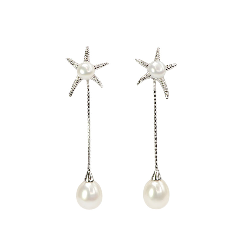 Lustrous Fresh Water Pearl Sterling Silver Starfish Statement Earrings