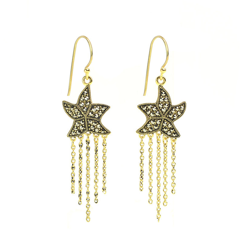 14kt Gold Plated Marcasite Starfish Earrings