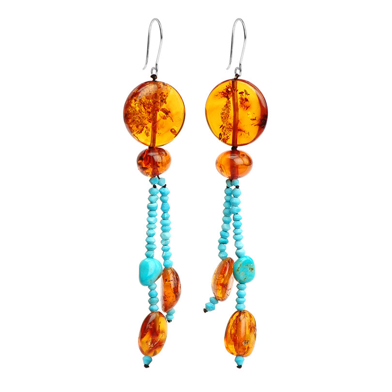 Brilliant Color Combination Cognac Baltic Amber and Genuine Sleeping Beauty Turquoise Sterling Silver Earrings