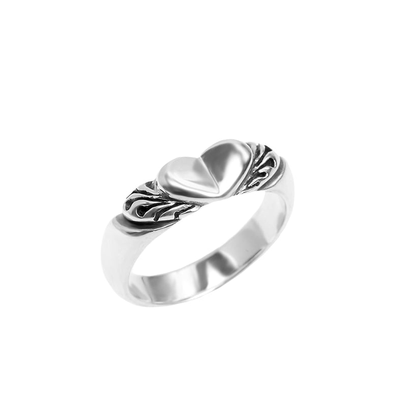 Petite Winged Heart Sterling Silver Ring-size 9