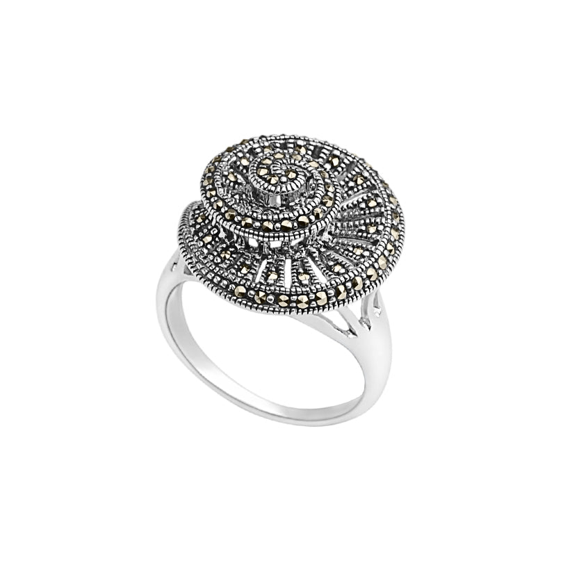 Exclusive Spiral Design Marcasite Sterling Silver Ring