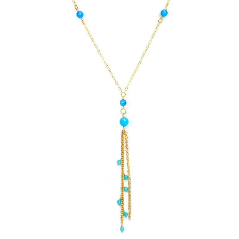 Bright Blue Agate Gold Plated Tassel Long Necklace - 34