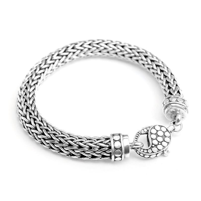 Sterling Silver Bali Weave with Dotted Lobster Clasp Bracelet 10mm