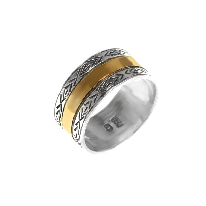 Unique deGruchy Two Tone Ring with Gold Sheeting over Sterling Silver